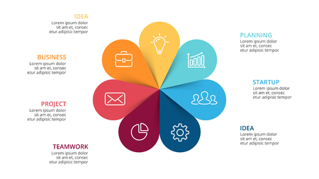 Le frecce del cerchio di vettore fioriscono infographic, il diagramma del ciclo, il grafico, il grafico di presentazione. Concetto di business con 7 opzioni, parti, passaggi, processi. Modello di diapositiva Archivio Fotografico - 81273558