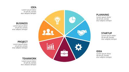 벡터 동그라미 화살표 infographic,주기 다이어그램, 기하학적 그래프, 프레 젠 테이 션 차트. 7, 옵션, 부품, 단계, 프로세스와 비즈니스 개념. 16x9 슬라이