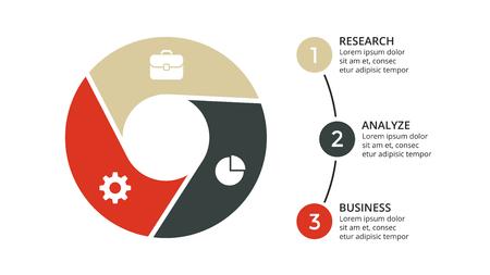 Vector cirkelpijlen infographic, cyclusdiagram, geometrische grafiek, presentatiegrafiek. Bedrijfsconcept met 3 opties, onderdelen, stappen, processen. 16x9 dia sjabloon. Stock Illustratie