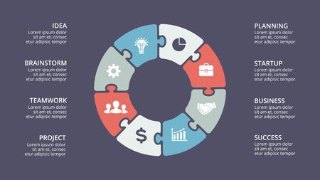 Vektor Kreis Pfeile infografische, Zyklus Diagramm, Grafik, Präsentation Diagramm. Business-Konzept mit 8 Optionen, Teile, Schritte, Prozesse. Standard-Bild - 87111085