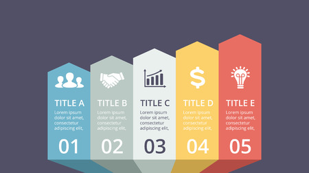 Vector arrows timeline infographic, diagram chart, graph presentation. Business progress concept with 5 options, parts, steps, processes.