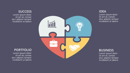 Vector puzzle heart love valentine infographic, cycle diagram, graph, presentation chart. Business concept with 4 options, parts, steps, processes. 16x9 dark slide template. 版權商用圖片 - 87111121