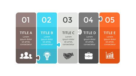 Vector puzzel labels infographic, diagram, grafiek, presentatieschema. Bedrijfsconcept met 5 stickersopties, delen, stappen, processen. Abstracte banners. Stock Illustratie