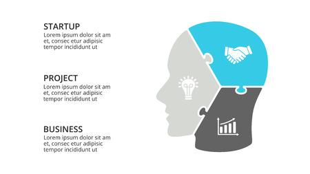 Vector brain infographic. Template for human head diagram, knowledge graph, neural network presentation and face chart. Business idea concept with 3 options, parts, steps. Puzzle jigsaw.