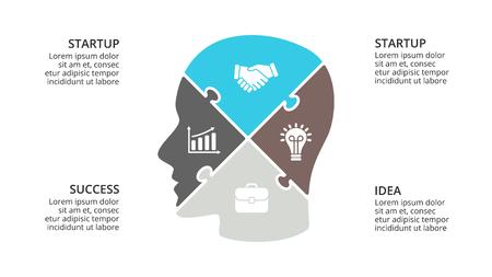 Vector cerebro infografía. Plantilla para diagrama de cabeza humana, gráfico de conocimiento, presentación de red neuronal y gráfico de cara. Concepto de idea de negocio con 4 opciones, partes, pasos. Rompecabezas de rompecabezas Foto de archivo - 87485123