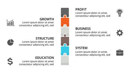 벡터 퍼즐 타임 라인 infographic, 다이어그램 차트, 그래프 프레 젠 테이 션. 6 가지 옵션, 부품, 단계, 프로세스가있는 비즈니스 진행 개념. 일러스트