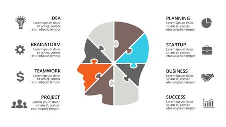벡터 두뇌 infographic입니다. 인간의 머리 다이어그램, 지식 그래프, 신경 네트워크 프레 젠 테이 션 및 얼굴 차트에 대 한 템플릿. 8 옵션, 부품, 단계와