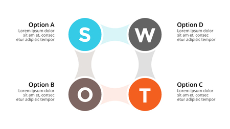 4 옵션, 파트, 단계, 프로세스와 비즈니스 개념. 일러스트