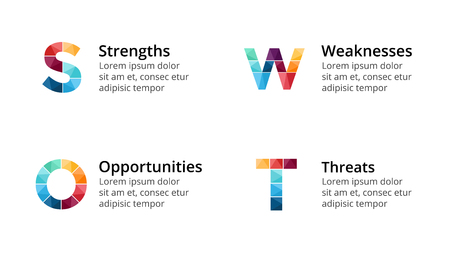 Vector SWOT analysis square metaball infographic, cycle diagram, graph, presentation chart. Business concept with 4 options, parts, steps, processes. 16x9 dark slide template.