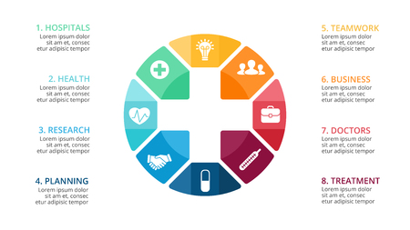 A Vector plus infographic, medical diagram, healthcare graph, hospital presentation, emergency chart. Medicine doctor logo. Concept with 8 options, parts, steps, processes.