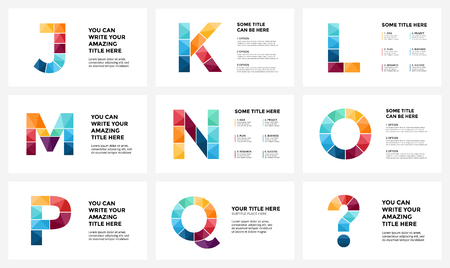 Vector alphabet infographic, presentation slide template. Business infographics concept with letters J, K, L, M, N, O, P, Q, question sign and place for your text. 16x9 aspect ratio.