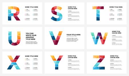 Vector alfabet infographic, presentatie dia sjabloon. Zakelijke infographics concept met letters R, S, T, U, V, W, X, Y, Z en plaats voor uw tekst. Beeldverhouding van 16x9. Stock Illustratie