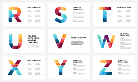 Vector alphabet infographic, presentation slide template. Business infographics concept with letters R, S, T, U, V, W, X, Y, Z and place for your text. 16x9 aspect ratio.