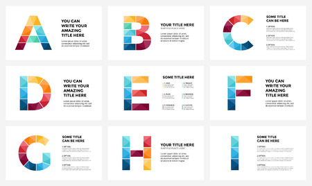 Vector alphabet infographic, presentation slide template. Business infographics concept with letters A, B, C, D, E, F, G, H, I and place for your text. 16x9 aspect ratio. Stock Photo