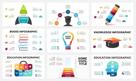 Vector infographic pijlen, diagramgrafiek, grafiekpresentatie. Bedrijfsrapport met 3, 4, 5, 6, 7, 8 opties, onderdelen, stappen, processen. Tijdlijn kaart. Gegevensanalyse. Percentage status. Groei succes concept.