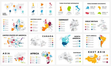 벡터지도 infographic. 슬라이드 프리젠 테이션. 글로벌 비즈니스 마케팅 개념입니다. 색상 국가. 세계 운송 지리 데이터. 경제 통계 템플릿. 세계, 미국,  일러스트