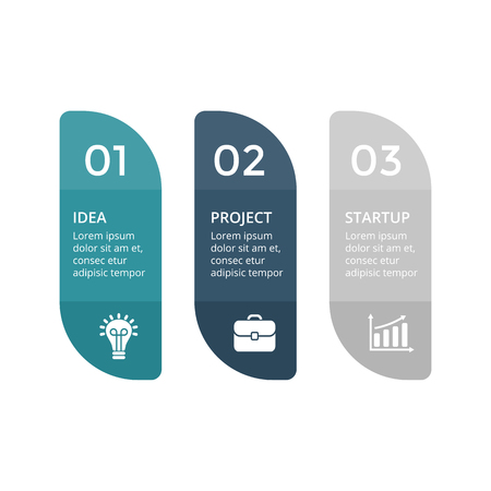 Vector labels infographic, diagram, graph, presentation chart. Business concept with 3 stickers options, parts, steps, processes. Abstract banners. Çizim