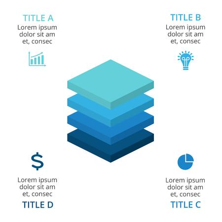 벡터 사각형 레이어 3d 인포 그래픽, 다이어그램 차트, 그래프 프레 젠 테이 션. 4 가지 옵션, 파트, 단계, 프로세스로 비즈니스 성장 컨셉.