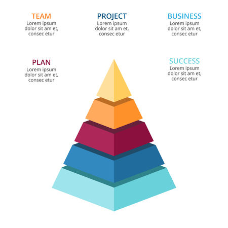 Vector 3d pyramid infographic, growth diagram chart, layered performance graph presentation. Business progress concept with 5 options, parts, steps, processes. Illustration