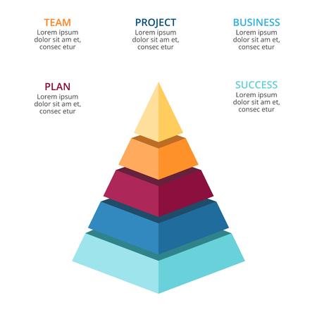 Vector 3d infographic piramide, de grafiek van het de groeiediagram, de gelaagde presentatie van de prestatiesgrafiek. Bedrijfsvooruitgangsconcept met 5 opties, onderdelen, stappen, processen.