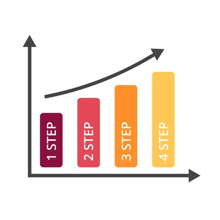 ベクトル矢印のインフォ グラフィック、図のグラフ、グラフのプレゼンテーション。4 のオプション、部品、ステップとビジネス成長の成功の概念