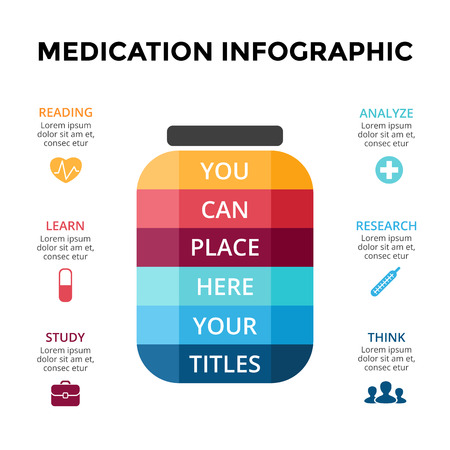 Vector pills treatment infographic, medical diagram, healthcare graph, hospital presentation, emergency chart. Medicine doctor logo. Concept with 6 options, parts, steps, processes.
