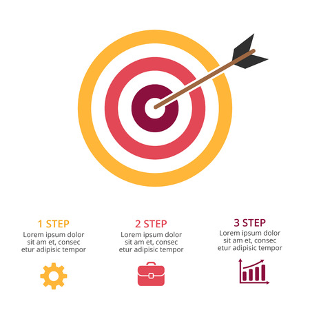 Vector circle arrows infographic, cycle diagram, graph, presentation chart. Target marketing research. Business concept with 3 options, parts, steps, processes. Illustration