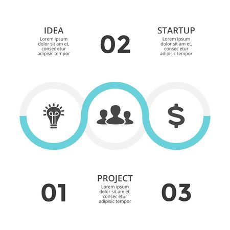 벡터 원 화살표 infographic,주기 다이어그램, 그래프, 프레 젠 테이 션 차트. 3 옵션, 파트, 단계, 프로세스와 비즈니스 개념. 일러스트