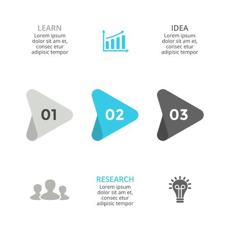 Vector arrows timeline infographic, diagram chart, graph presentation. Business progress concept with 3 options, parts, steps, processes.