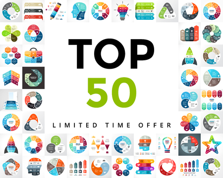 infographics set. TOP 50. Business diagrams, arrows graphs, startup presentations and idea charts. Medicine, education, marketing, startups. Stock Photo