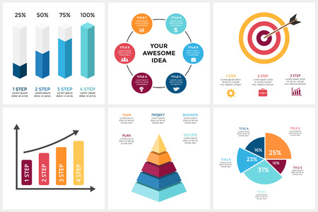 Marketing infographic, cycle diagram, global business graph, presentation chart. 3, 4, 5, 6 options, parts, steps, process. Target market, 3D pyramid, percentage columns. Vettoriali