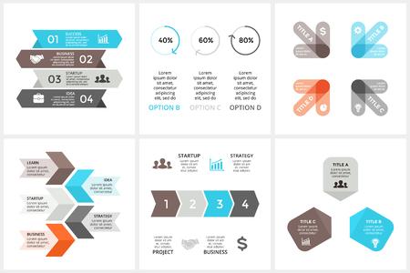 サークル矢印タイムライン インフォ グラフィックをベクトル、サイクル図、三角形グラフ、プレゼンテーションのグラフ。3, 4, 5 のビジネス概念の