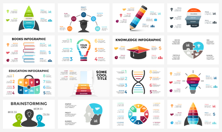 Vector education brain infographic. Template for human mind diagram, knowledge graph, creative idea presentation, science chart. Business books literature concept with options, parts, steps. Puzzle jigsaw, light bulb, DNA.