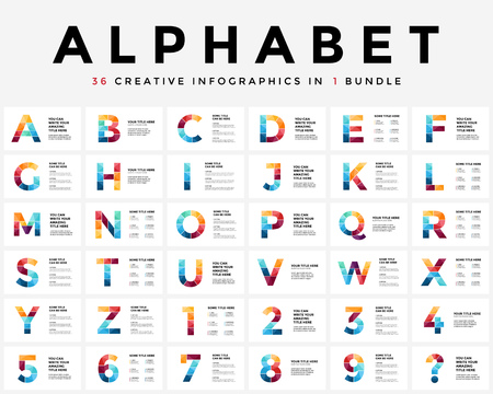 Vector alphabet infographic, presentation slide template. Business typographic concept with all numbers and letters. 16x9 aspect ratio. 36 infographics in 1 bundle. Latin type. Vectores