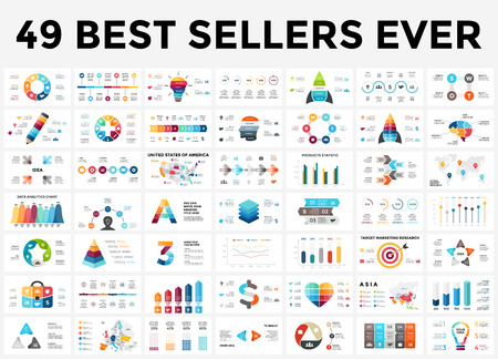 Vector infographics set. 49 slides best sellers. Circle diagrams, arrows graphs, creative presentations and idea charts. Medicine, education, business, marketing, startup, maps.