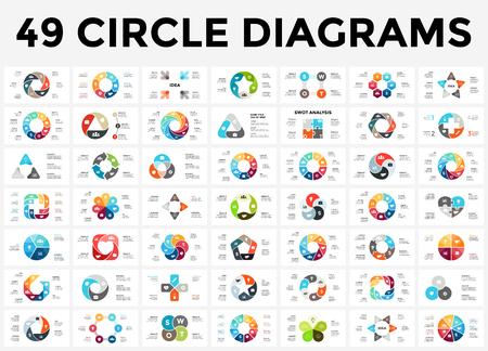 Infographie infographique de flèches de vecteur, diagramme de cycle, graphique, tableau de présentation. Concept d'affaires avec 3, 4, 5, 6, 7, 8 options, pièces, étapes, processus.