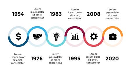 Vektorpfeile halbkreisförmige Zeitachse infographic, Diagrammdiagramm, Diagrammdarstellung. Geschäftsfortschrittskonzept mit 6 Optionen, Teilen, Schritten, Prozessen. Standard-Bild - 88860213