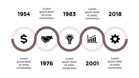 Vektorpfeile halbkreisförmige Zeitachse infographic, Diagrammdiagramm, Diagrammdarstellung. Geschäftsfortschrittskonzept mit 5 Optionen, Teilen, Schritten, Prozessen. Standard-Bild - 88860210