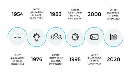 Vektorpfeile halbkreisförmige Zeitachse infographic, Diagrammdiagramm, Diagrammdarstellung. Geschäftsfortschrittskonzept mit 6 Optionen, Teilen, Schritten, Prozessen. Standard-Bild - 88860209