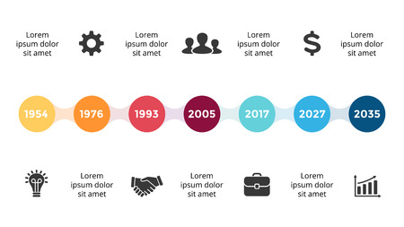 Vector metaball timeline infographic, diagram chart, graph presentation. Business progress concept with 7 options, parts, steps, processes. Stock Photo