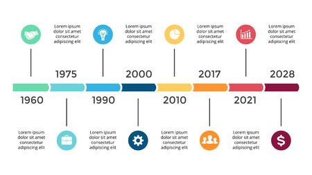 벡터 화살표 타임 라인 infographic, 다이어그램 차트, 그래프 프레 젠 테이 션을 동그라미. 8 가지 옵션, 부품, 단계, 프로세스가있는 비즈니스 진행 개념. 일러스트