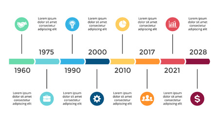 Vector arrows circles timeline infographic, diagram chart, graph presentation. Business progress concept with 8 options, parts, steps, processes. Illustration
