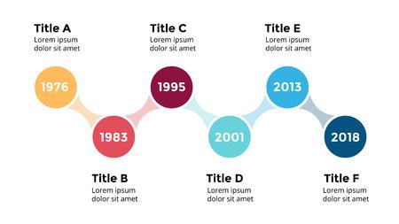 Vector pijlen cirkels tijdlijn infographic, diagram grafiek, grafiek presentatie. Bedrijfsvooruitgangsconcept met 8 opties, onderdelen, stappen, processen. Stock Illustratie