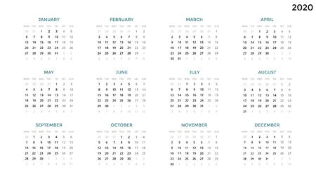 캘린더 infographic, 테이블 차트, 프레 젠 테이션 차트. 비즈니스 기간 개념입니다. 작업 관리자. 주, 월. 2020 년. 시간 관리. 주최자 날짜 일기. 첫날 월요 일러스트