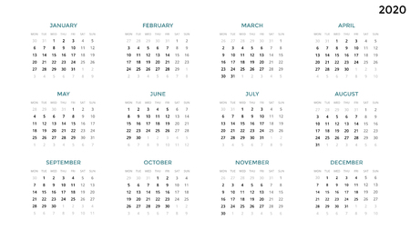 Calendar infographic, table chart, presentation chart. Business period concept. Task manager. Week, month. 2020 year. Time management. Organizer date diary. First day Monday. Stok Fotoğraf - 89774384