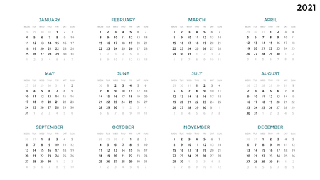 Calendar infographic, table chart, presentation chart. Business period concept. Task manager. Week, month. 2021 year. Time management. Organizer date diary. First day Monday.