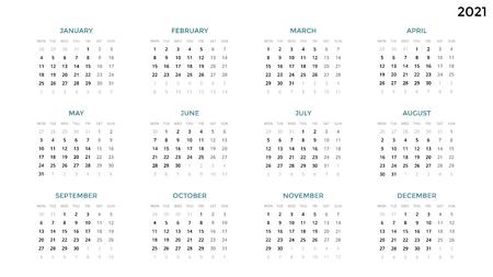 Infographic kalender, lijstgrafiek, presentatiediagram. Bedrijfsperiode concept. Taakbeheer. Week maand. 2021 jaar. Tijdsbeheer. Dagboek agenda van de organisator. Eerste dag maandag.