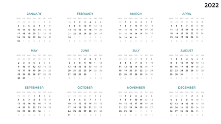 Calendar infographic, table chart, presentation chart. Business period concept. Task manager. Week, month. 2022 year. Time management. Organizer date diary. First day Monday.