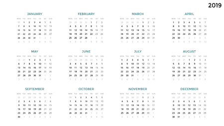Calendar of the year 2019