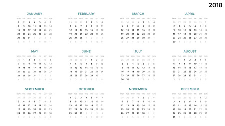 Calendar infographic, table chart, presentation chart. Business period concept. Task manager. Week, month. 2018 year. Time management. Organizer date diary. First day Monday.